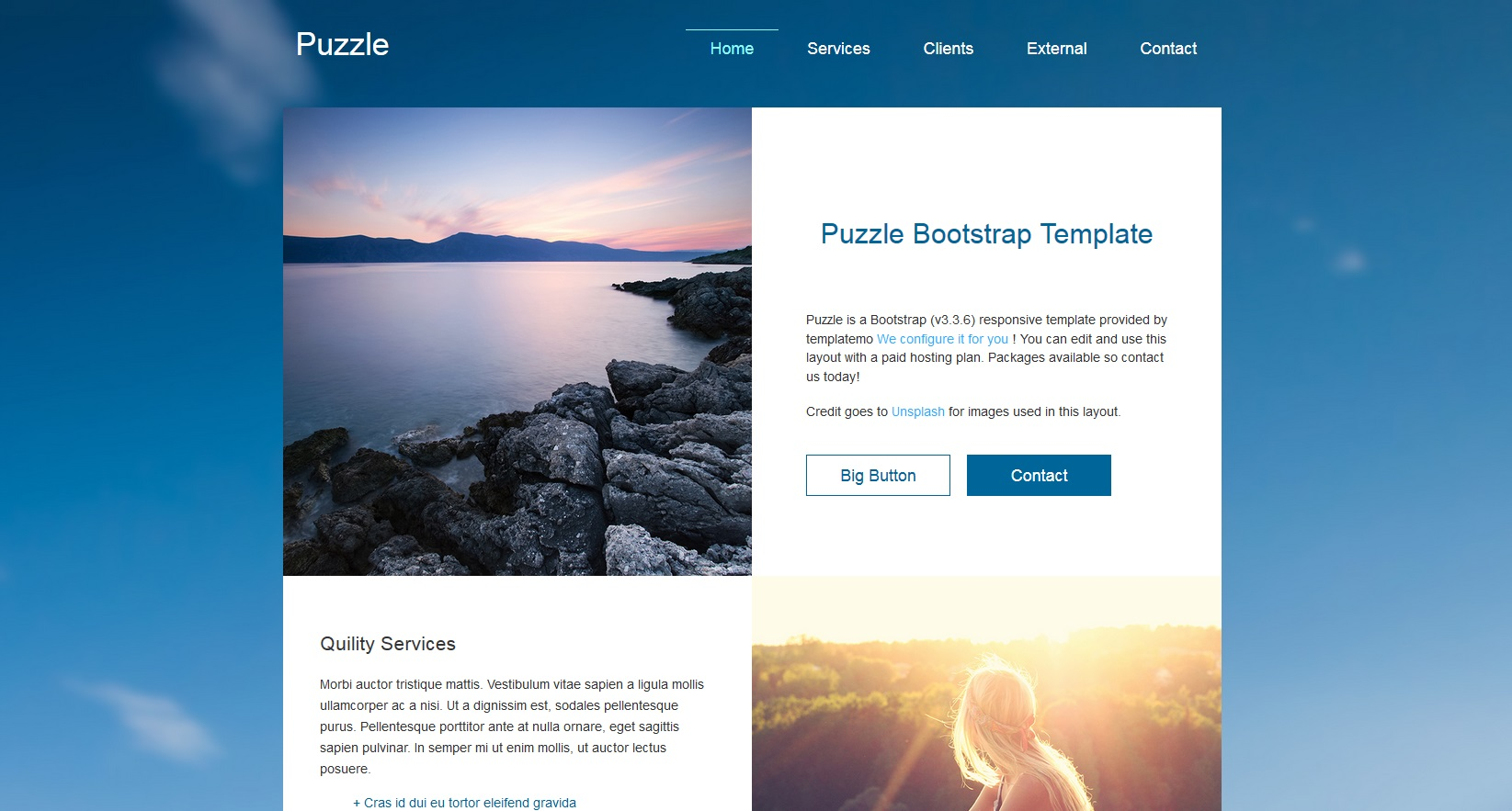 Puzzle One Page Theme with on page editing snapshot